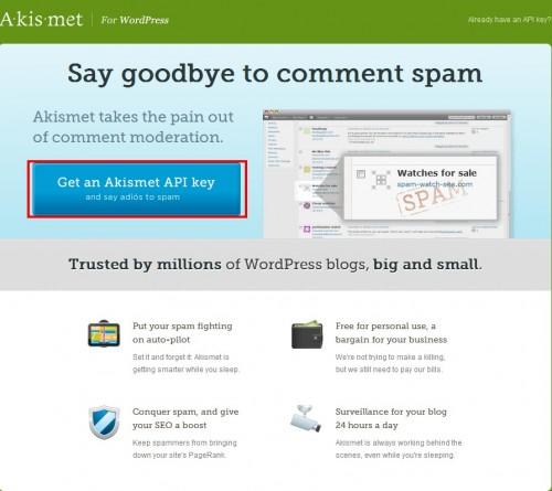 AkismetのこAPIキー入手ページです。Get an Akismet API Keyをクリックします