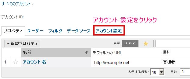 GoogleAnalyticsのアカウントを削除する手順を解説している画像です。