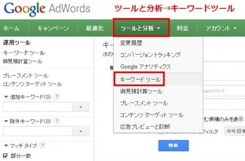 GoogleAdWordsのアカウントをお持ちの方の操作画面の画像です。