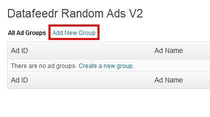 Random / Rotating Ads V2の広告設定画面の解説画像です。