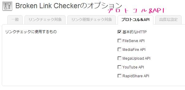 Broken Link Checkerのプロトコル&APIタブの設定解説画像
