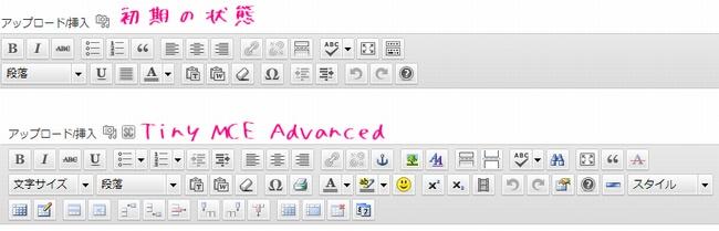 TinyMCE Advanced使用前と使用後の比較画像