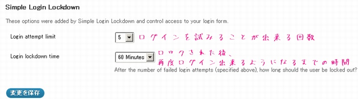 Simple Login Lockdownの設定画面の解説画像