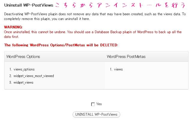 WP-PostViewsのアンインストールの作業の解説画像