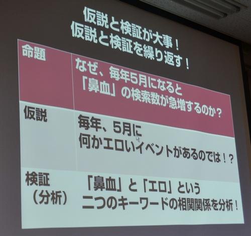 WordCamp大阪2012での松尾氏公演の鼻血SEOの画像