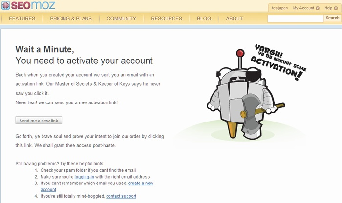 SEOmozの仮登録が完了した画面