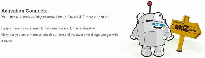 SEOmozのユーザー登録完了画面