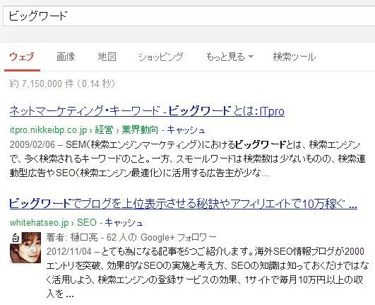 当ブログがビッグキーワードで上位表示させた一例