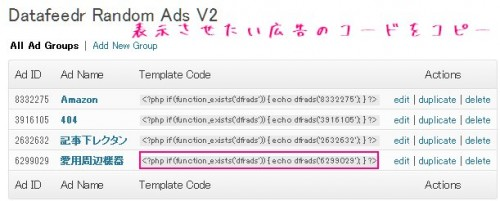 PHPのコードをコピーする画面
