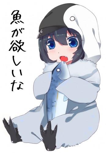 魚が大好きなペンギンアップデートちゃんのイラスト