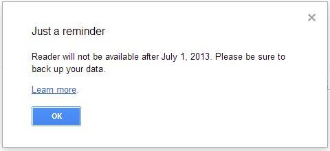 Googleリーダーは終了するという画面表示